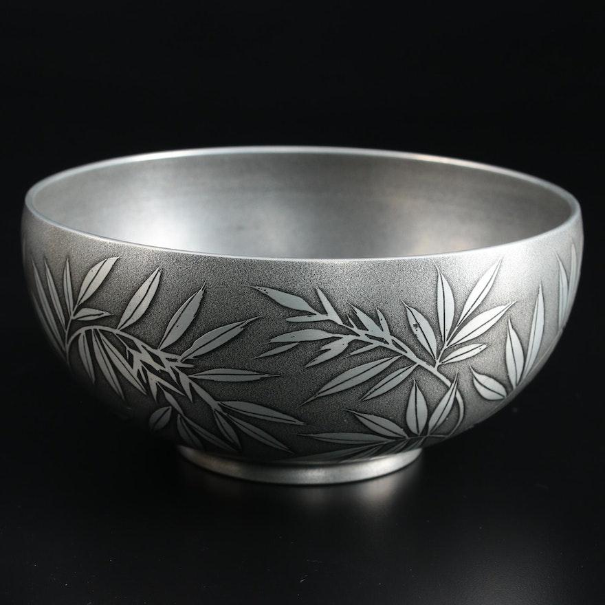 Japanese Pewter Bamboo Leaf Embellished Bowl with Presentation Box