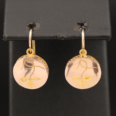 Antique 10K Earrings with Etched Design