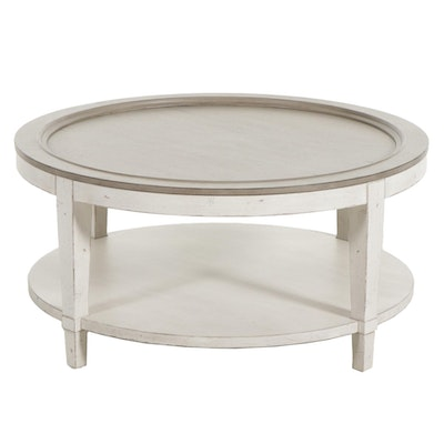 "Bassett ""Bella"" Parcel Painted Wood Two-Tier Round Cocktail Table"