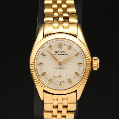 1954 Rolex Oyster Perpetual Small Seconds 18K Gold Automatic Wristwatch