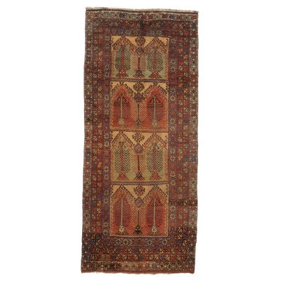 5'5 x 12'7 Hand-Knotted Turkish Oushak Village Long Rug, 1940s