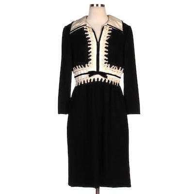 Oscar de la Renta Boutique Black Velvet Trim Dress with White Silk Collar