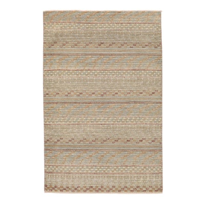 4' x 6'1 Hand-Knotted Pakistani Gabbeh Rug, 2010s