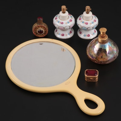 Py-Ra-Lin Ivory Vanity Mirror with Glass and Ceramic Perfume Bottles and Box