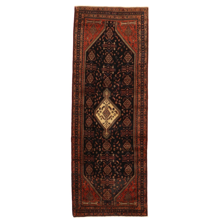 4'1 x 11'3 Hand-Knotted Persian Malayer Long Rug, 1960s