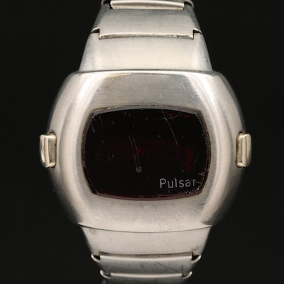 "Vintage Pulsar ""Time Computer"" Stainless Steel Digital Wristwatch"