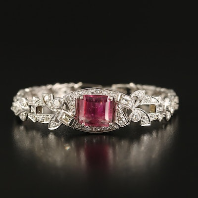 Vintage Platinum and 14K 4.50 CT Tourmaline and 1.53 CTW Diamond Bracelet