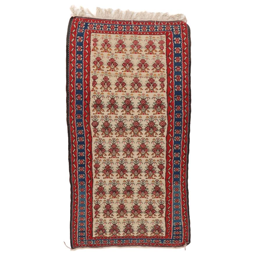 3'6 x 7'2 Handwoven Persian Senneh Kilim Area Rug