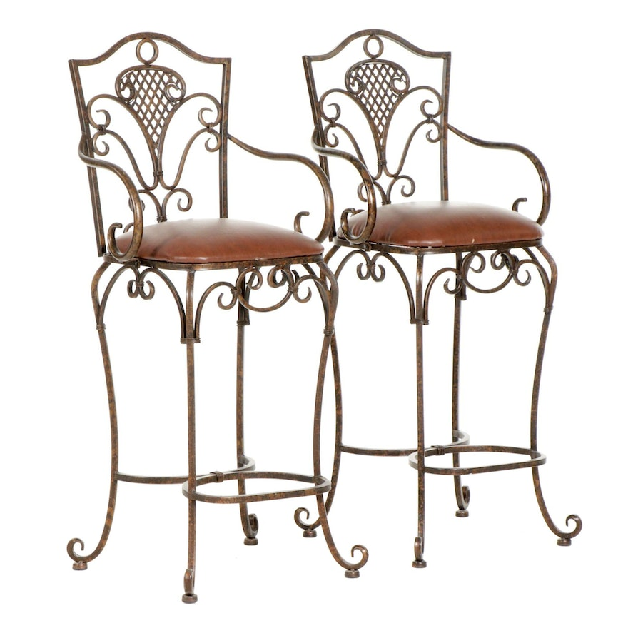 Pair of Contemporary Upholstered Metal Bar Stools