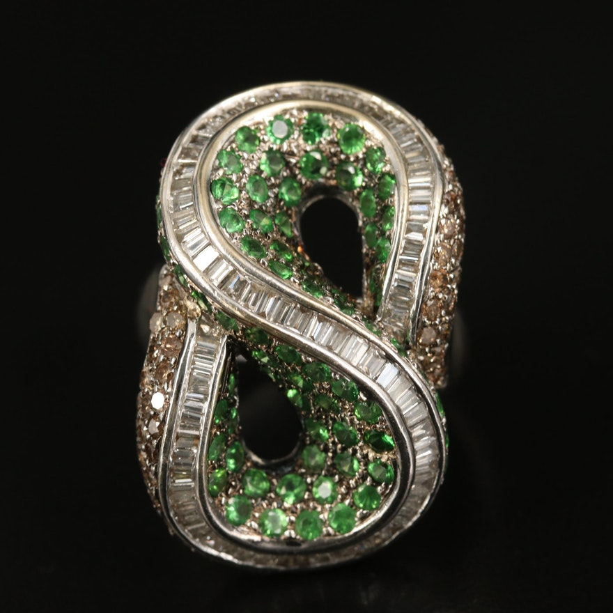 18K 2.90 CTW CTW Diamond and Tsavorite Loop Ring