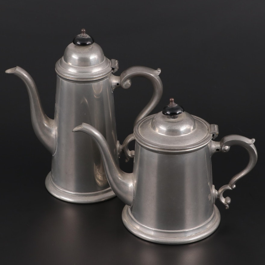Viners of Sheffield English Pewter Coffee and Teapot, Mid-20th Century