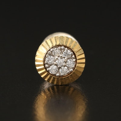 18K Diamond Fluted Two Tone Pin