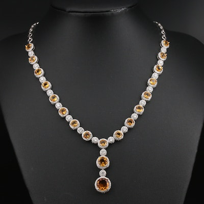 Sterling Citrine and Cubic Zirconia Line Drop Necklace