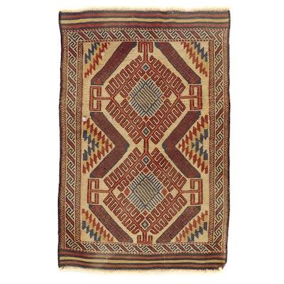 3'3 x 5'1 Handwoven Afghan Baluch Soumak Area Rug