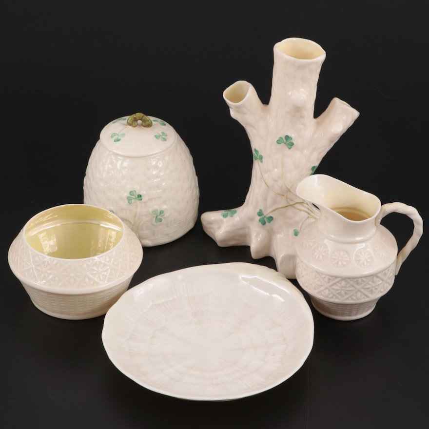"Belleek ""Shamrock"" Vase and Covered Jar and Other Tableware, Mid-Late 20th C."