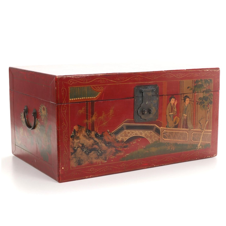 Hand-Painted Red Lacquer Chinese Trunk
