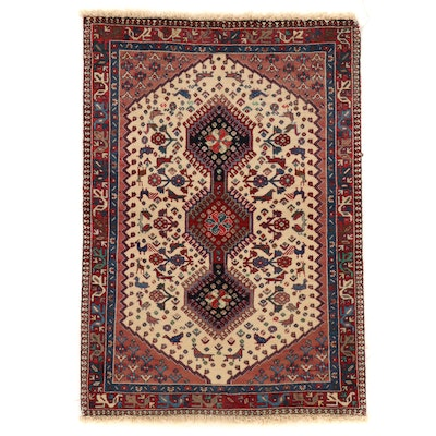 3'6 x 5'1 Hand-Knotted Persian Ardebil Accent Rug