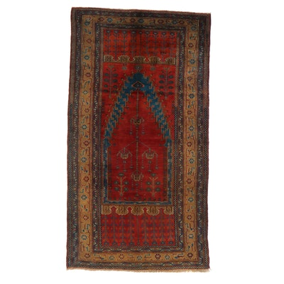 5'3 x 9'8 Hand-Knotted Turkish Village Rug, 1930s