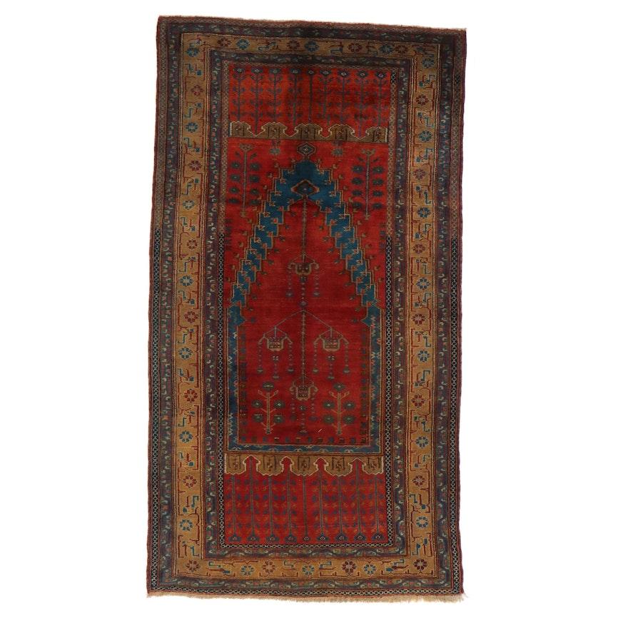 5'3 x 9'8 Hand-Knotted Turkish Village Rug, 1930s