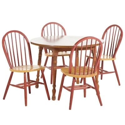 American Primitive Style Dining Table with Four Parcel Painted Spindle Chairs