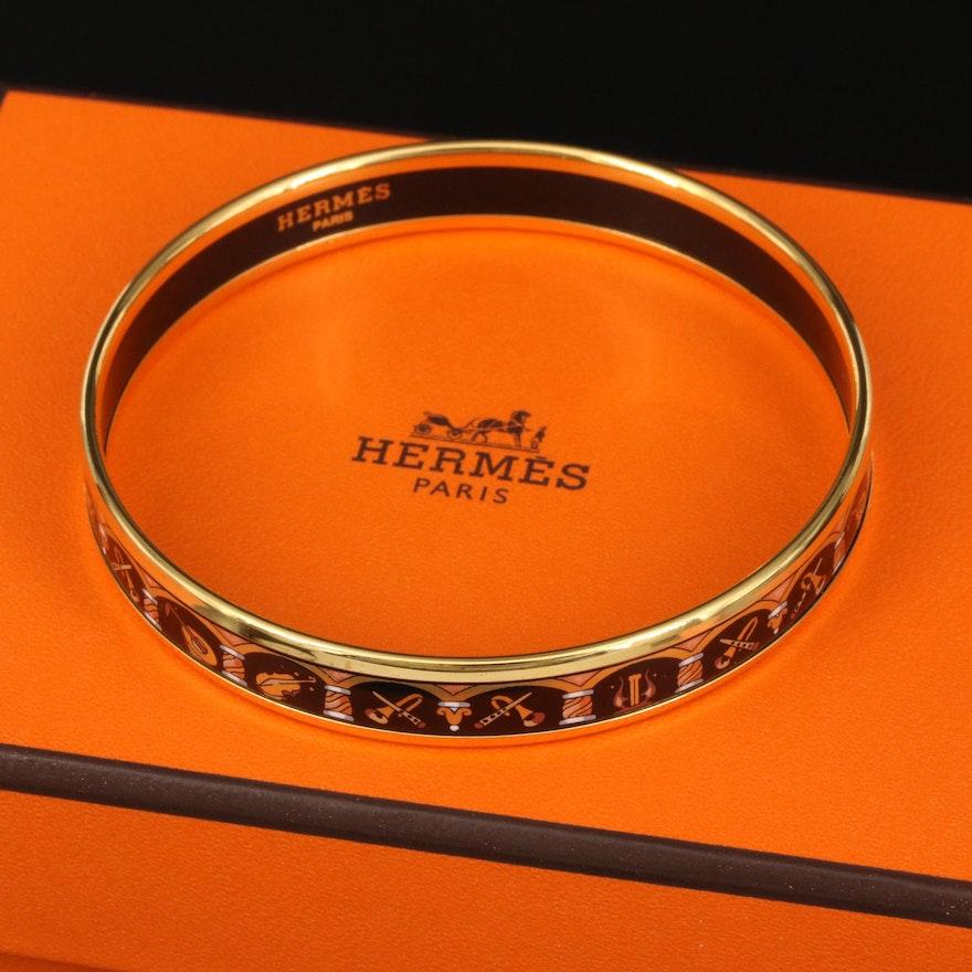 Hermès Enamel Bangle with Musical Instrument Pattern