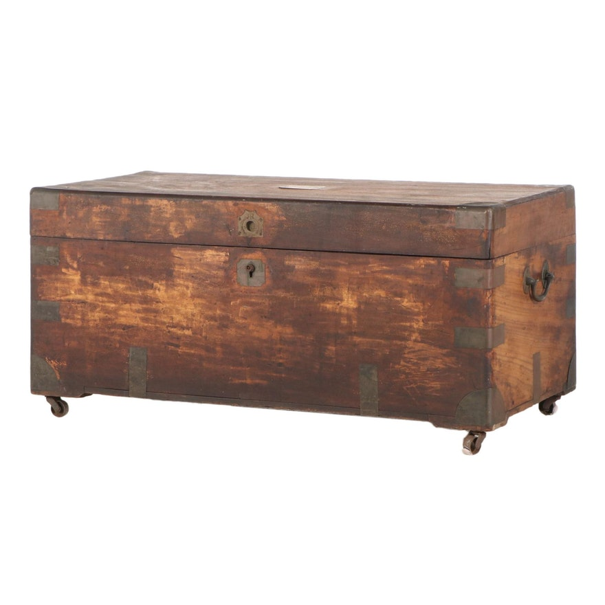 Rustic Style Wooden Metal Clad Lift-Top Chest / Coffee Table, 20th Century