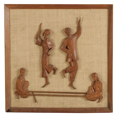 Narra Wood Wall Sculpture of Philippine Tinikling Dancers