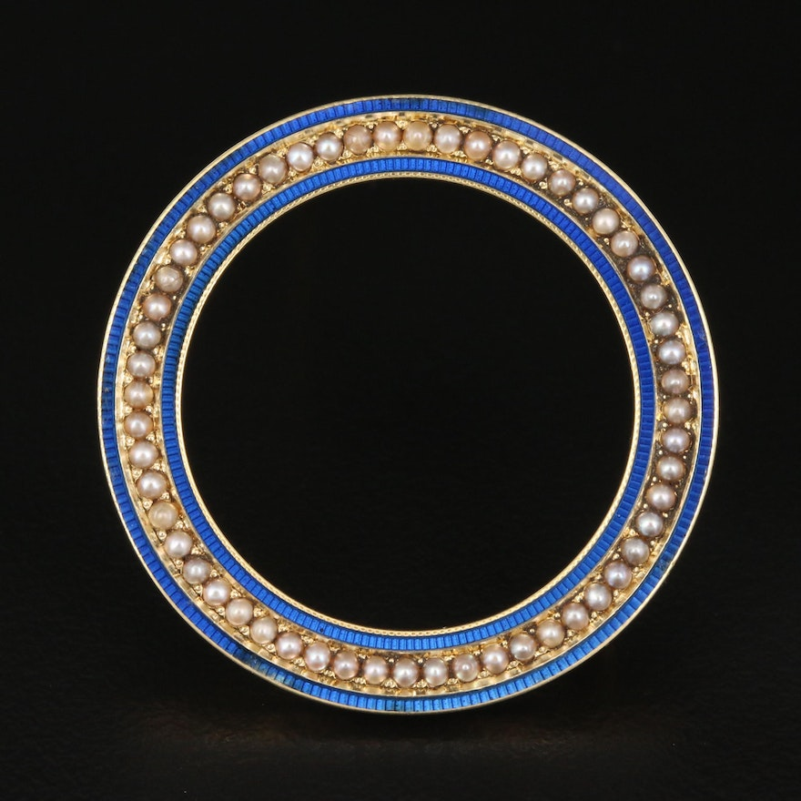 Early 1900s Carter, Gough & Co. 14K Seed Pearl and Enamel Circle Brooch