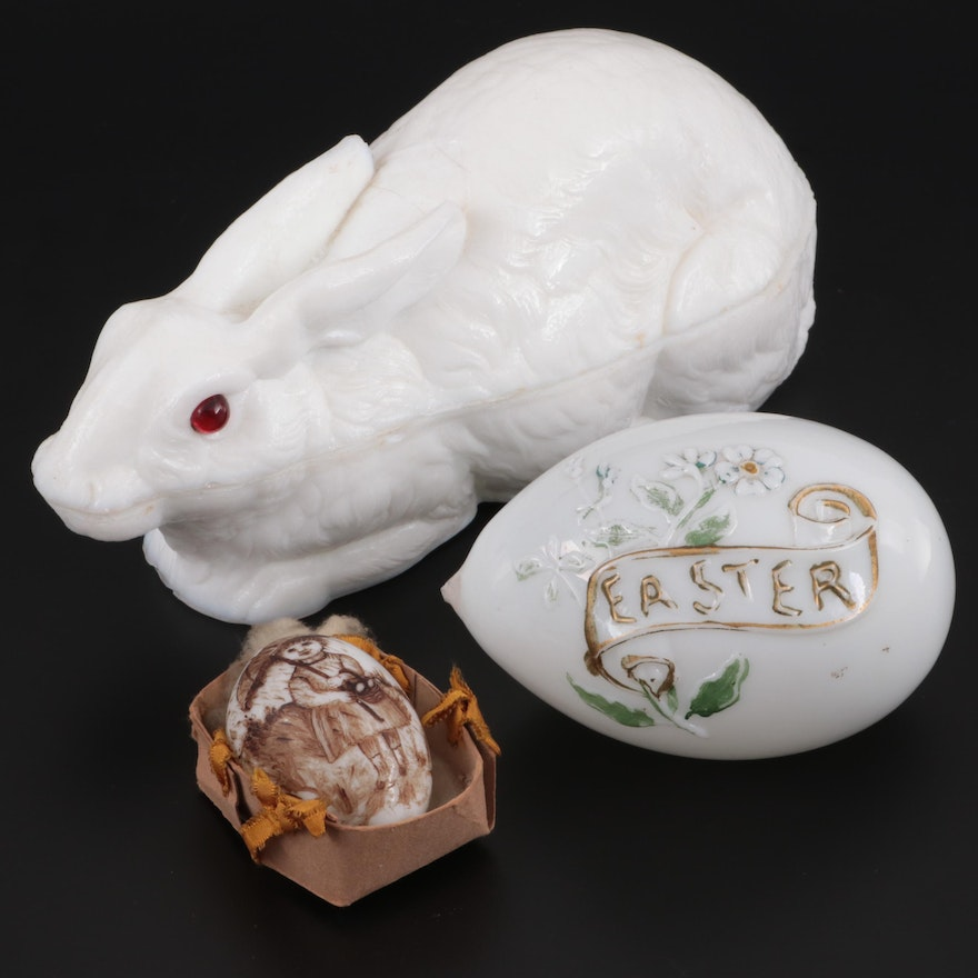 Milk Glass Rabbit Form Dish with Easter Themed Egg Figurines