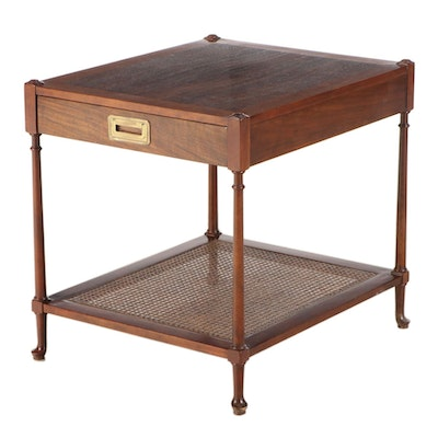 Baker Furniture Burl Wood and Cane Shelf Side Table, Mid-20th Century