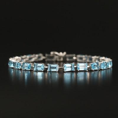 Sterling Swiss Blue Topaz Line Bracelet