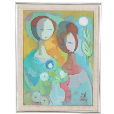 "Belle Golinko Abstract Figural Oil Painting ""Mother and Daughter"", 21st Century"