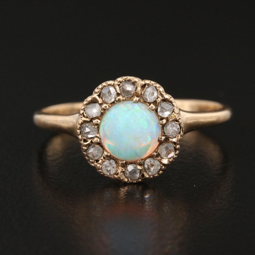 Antique 10K Opal and Diamond Ring