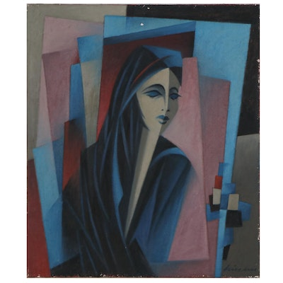 Cubist Style Oil Portrait of Woman, Mid-Late 20th Century