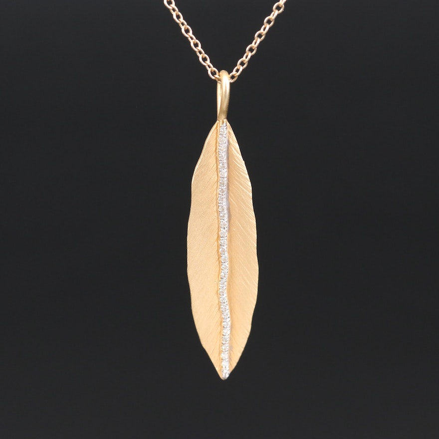 14K Diamond Feather Pendant Necklace