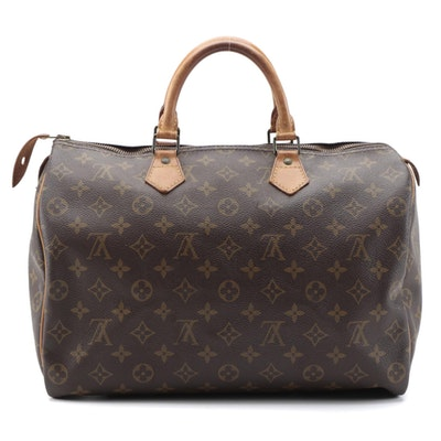 Louis Vuitton Speedy 35 Handbag in Monogram Canvas and Vachetta Leather