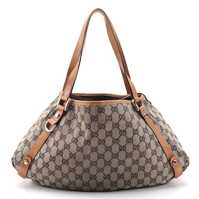 Gucci Abbey Medium Shoulder Bag in GG Canvas and Leather Trim