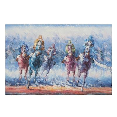 Oil Painting of Racing Jockeys, 21st Century