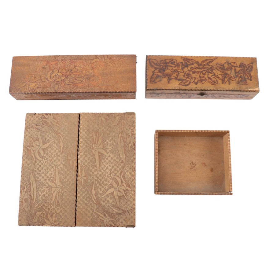 Pyrographic Art Nouveau Wooden Vanity and Handkerchief Boxes, Early 20th C.