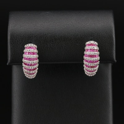 Sterling Ruby and Topaz Fluted Half Hoop Earrings