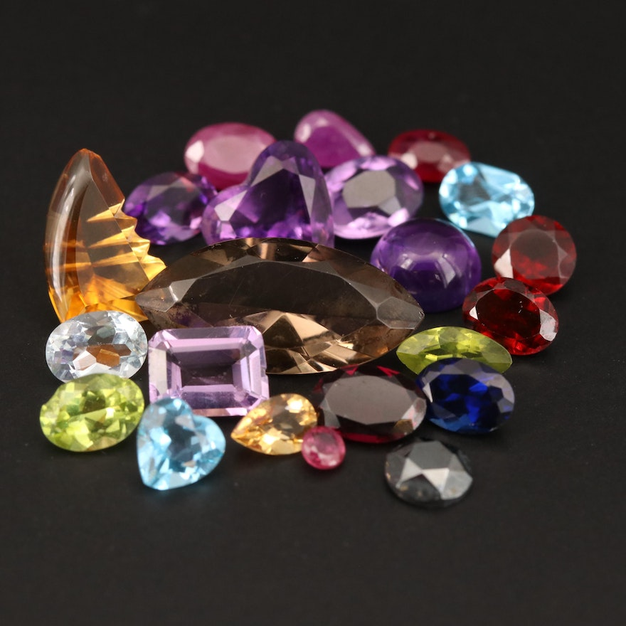 Loose 28.45 CTW Gemstone Selection Featuring Rubies, Amethysts and Citrines