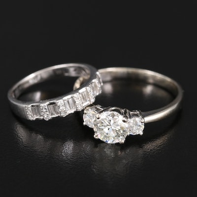 18K and 14K 2.05 CTW Diamond Ring Set with 1.32 CT Center and GIA Online Report