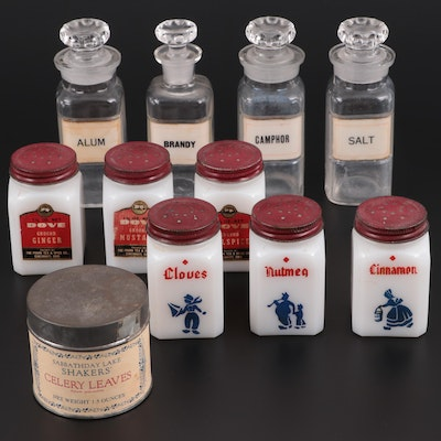 McKee Milk Glass and Other Spice Jars, Mid to Late 20th Century