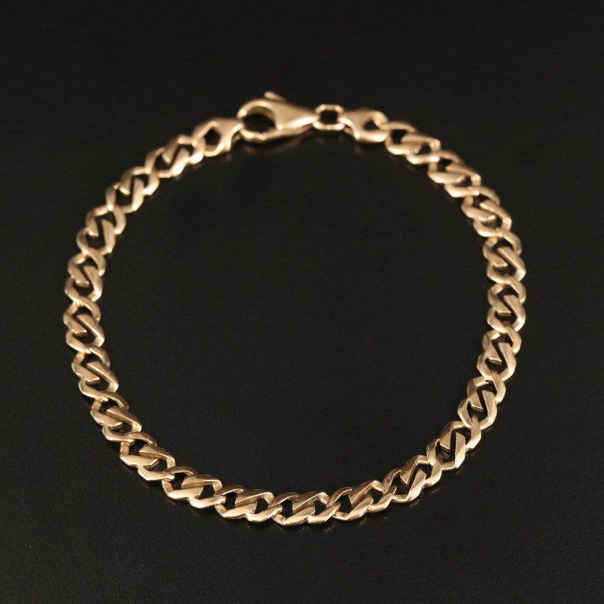 14K Fancy Curb Chain Bracelet