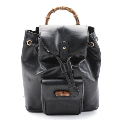 Gucci Bamboo Black Leather Backpack Purse