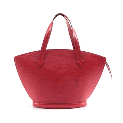 Louis Vuitton St. Jacques PM Handbag in Castilian Red Epi and Smooth Leather