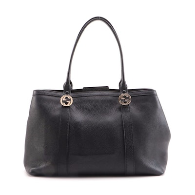 Gucci Miss GG Tote Bag in Black Pebble Grained Leather