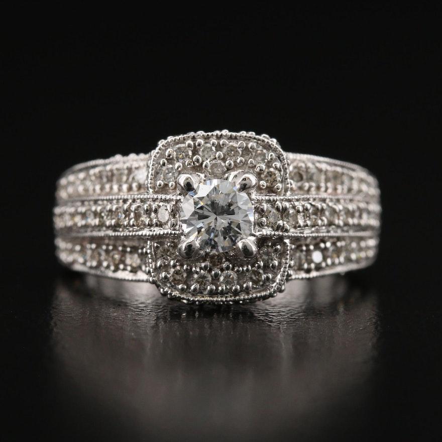 14K 1.11 CTW Diamond Ring with Milgrain Accents