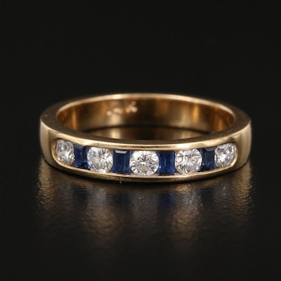 14K Diamond and Sapphire Channel Band