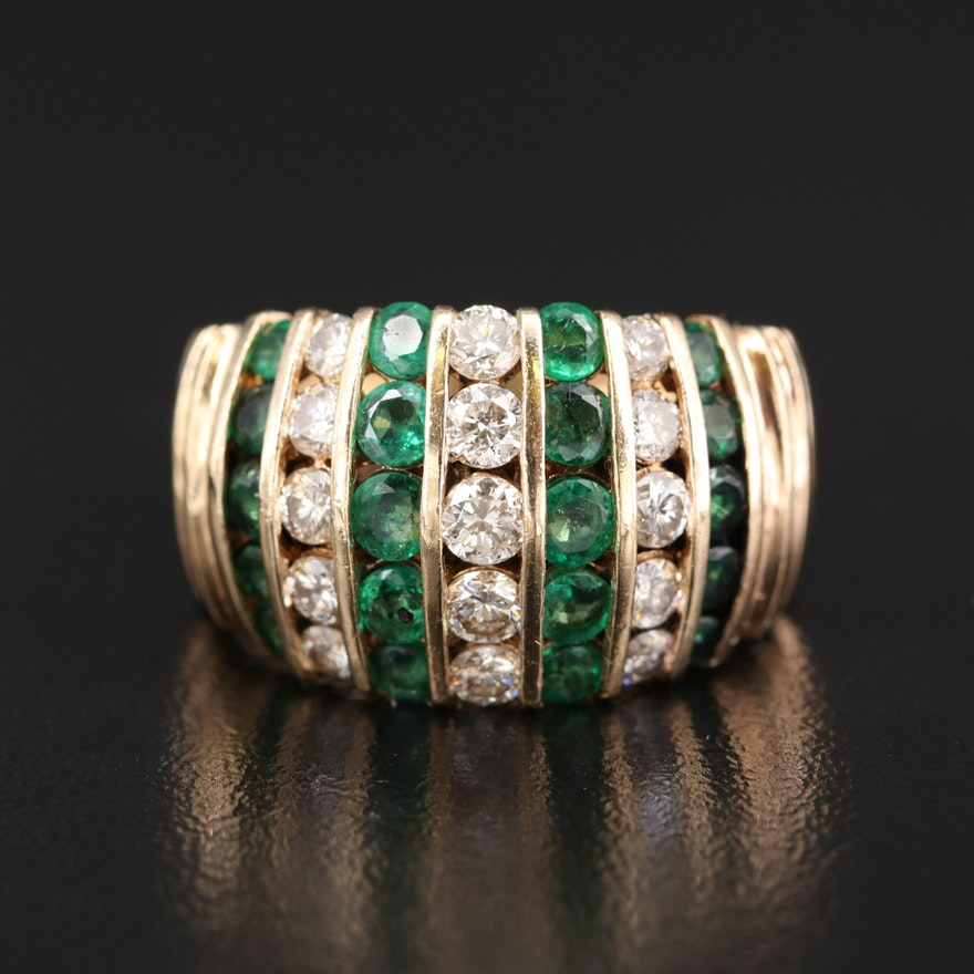 14K Diamond and Emerald Dome Ring